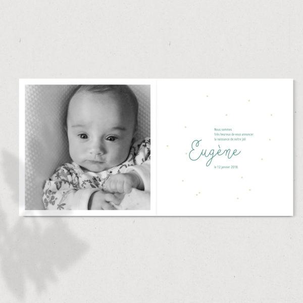 faire-part de naissance couronne mint avec photo