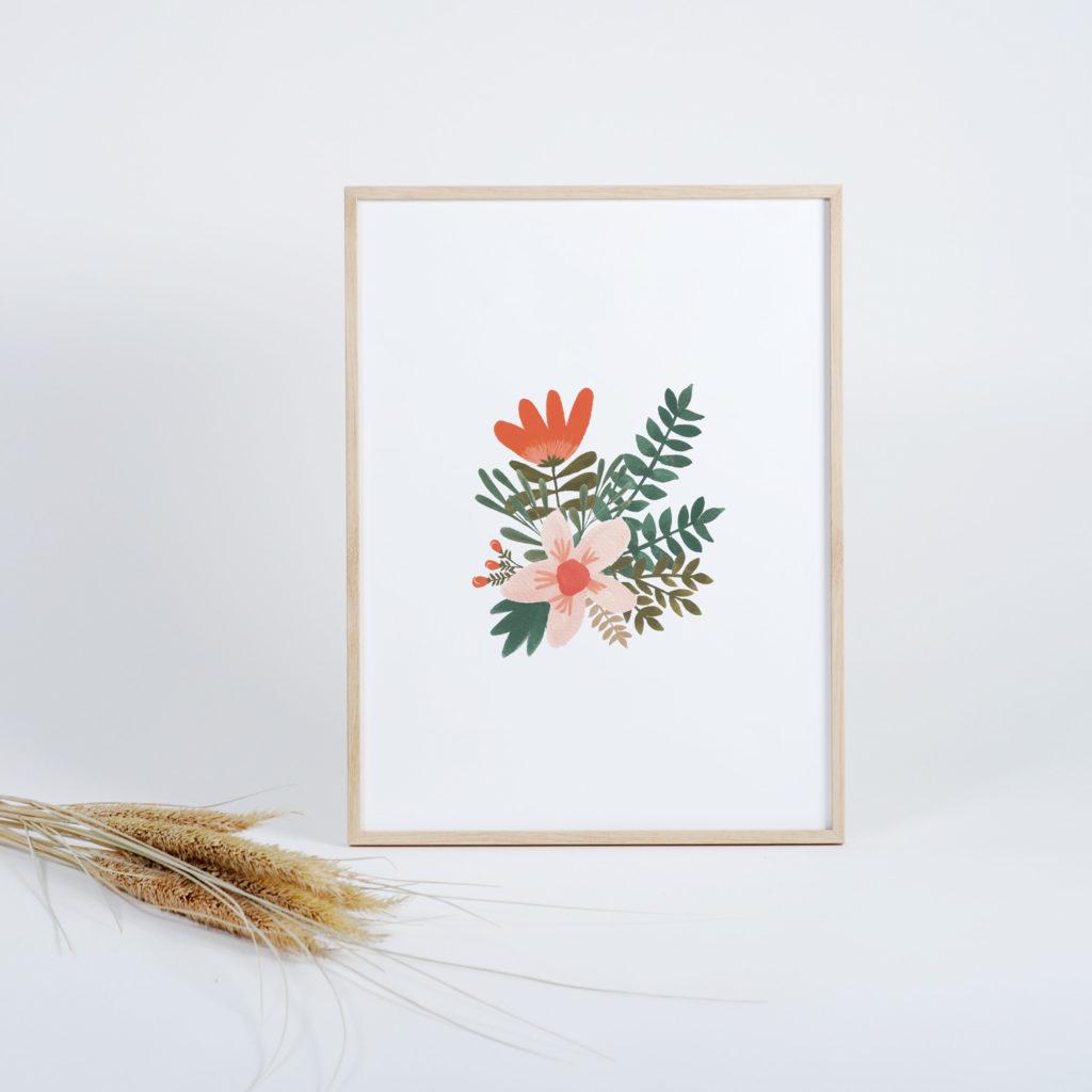 Affiche bouquet gouache