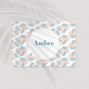 faire-part de naissance motif all over flower rose et bleu
