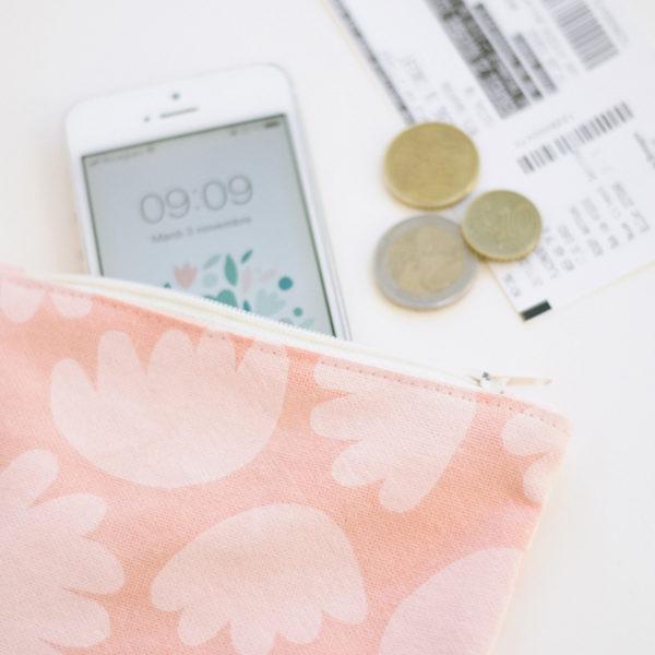 pochette bloom rose atelier nougatine rennes serigraphie