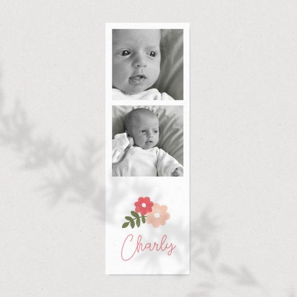 faire-part de naissance maruqe page fleurs sauvage atelier nougatine rennes